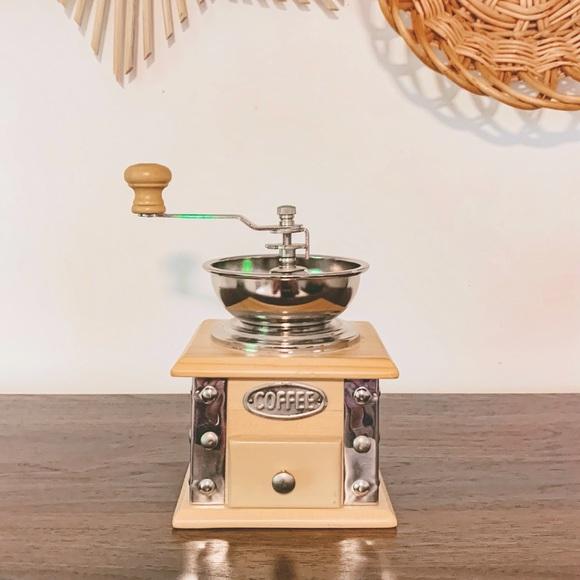 Boho Vintage Style Wooden Crank Coffee Grinder
